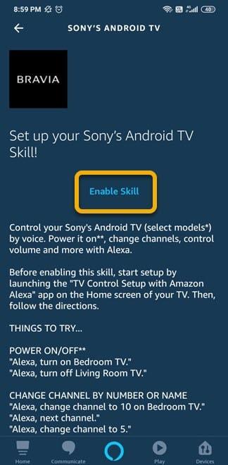 enable alexa skill