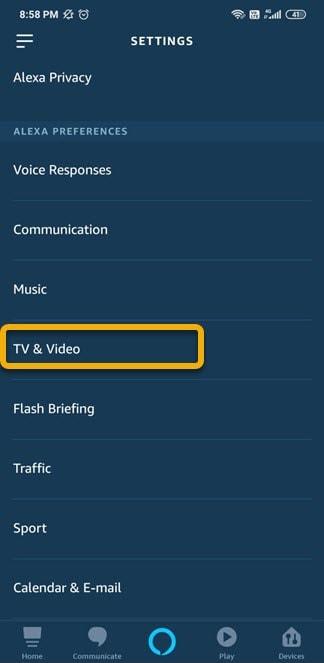 tv video in alexa app