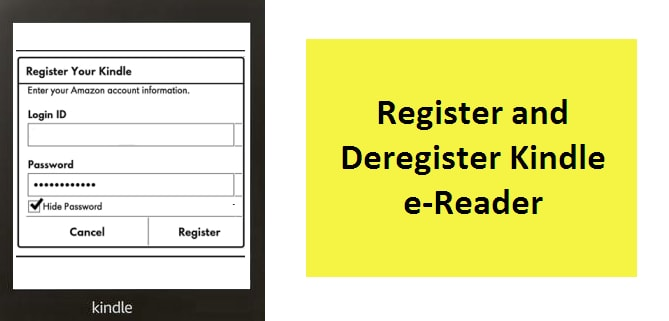 kindle device registration screen