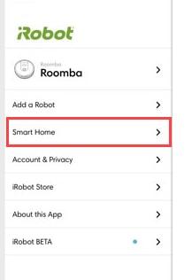 smart home in roomba app